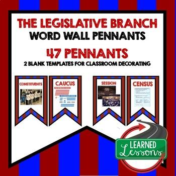 Civics Legislative Branch Pennant Word Wall