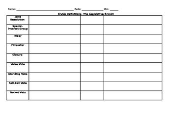 Civics- Legislative Branch Vocabulary Activity