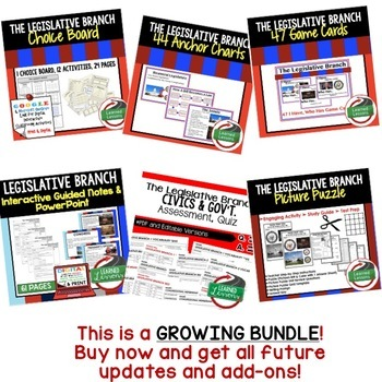 Civics Legislative Branch of Government BUNDLE (Civics & Government BUNDLE)