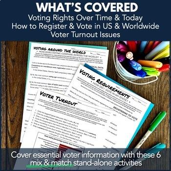Election Voting Turnout, Requirements, Comparison, & Behavior Activity 6-Pack