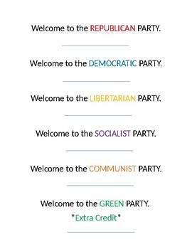 Civics Mock Election Political Party Random Selection Slips