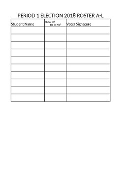 Civics Mock Election Polling Roster Sheets