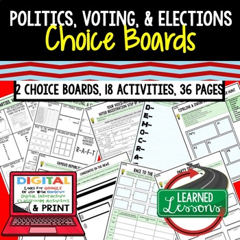 Civics Politics, Voting, & Elections Choice Board Activities Paper/ Google Drive
