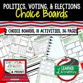 Civics Politics, Voting, & Elections Activities, Choice Board, Print & Digital,