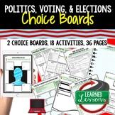 Civics Politics, Voting, & Elections Activities, Choice Board, Print & Digital,
