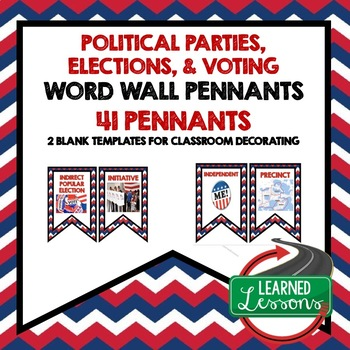 Civics Politics, Voting, and Elections Word Wall Pennants