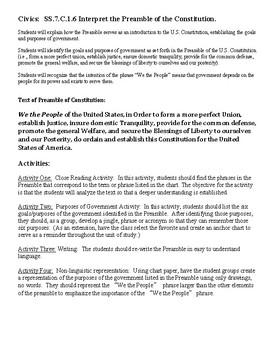 Civics: Preamble to Constitution - Enumerated Purposes of Gov. SS.7.C.1.6
