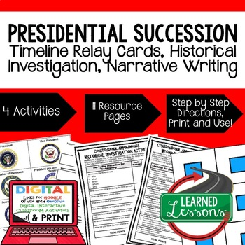Civics Presidential Succession Sequencing & Writing Paper & Google Drive
