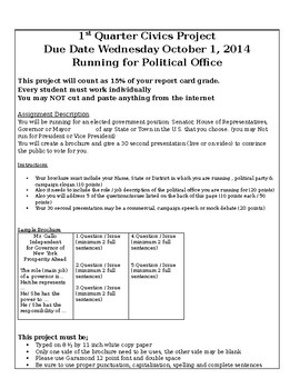 Civics Project - Running for Elected Office