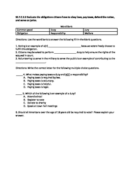 Florida Seventh Grade Civics Remediation Activities
