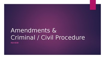 Civics Review -- Amendments / Civil / Criminal Procedure