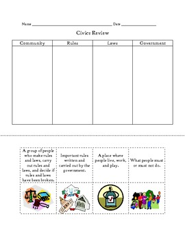 Civics Review Sort with Questions