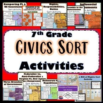 Civics Sort Activities Bundle of 10- Civics EOC Review ...