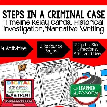 Civics Steps in a Criminal Case Sequencing & Writing (Paper & Google Drive)
