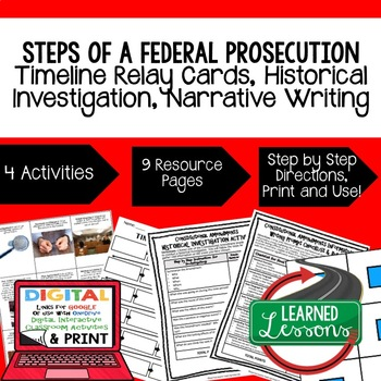 Civics Steps in a Federal Prosecution Sequencing Writing (Paper & Google Drive)