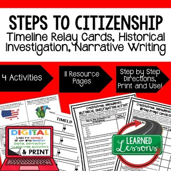 Civics Steps to Citizenship Sequencing & Writing (Paper & Google Drive)