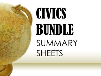 Civics Summary Sheets BUNDLE