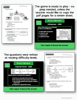 Civics Test Prep Game Show & Review Sheets: Origins & Purposes Law Government