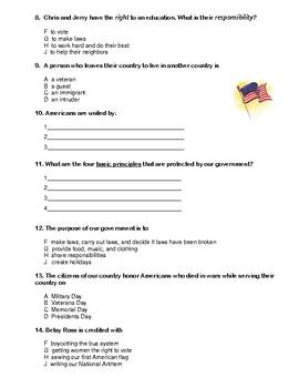 Civics Test for Third Grade