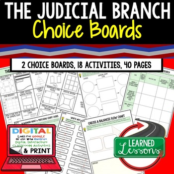 Civics The Judicial Branch Choice Board and Activities Pap