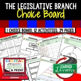 Legislative Branch Activities, Choice Board, Print & Digital, Google