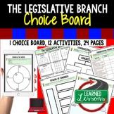 Legislative Branch Activities Choice Board, Digital Distan
