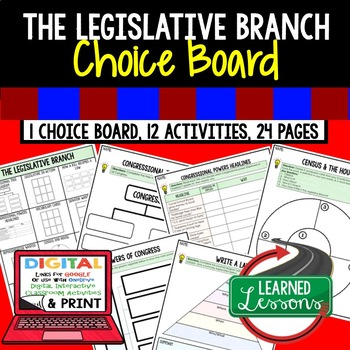Civics The Legislative Branch Choice Board and Activities