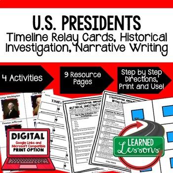 Civics U.S. Presidents Sequencing & Writing (Paper & Google Drive)
