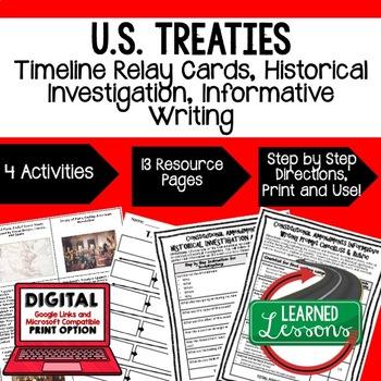 Civics U.S. Treaties Timeline & Writing Activities Paper & Google Drive Versions
