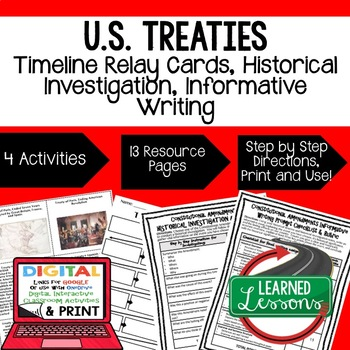 Civics U.S. Treaties Timeline & Writing Activities Paper & Google Drive Versions