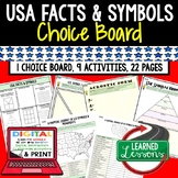 Civics US Facts & Symbols Activities, Choice Board, Print & Digital, Google