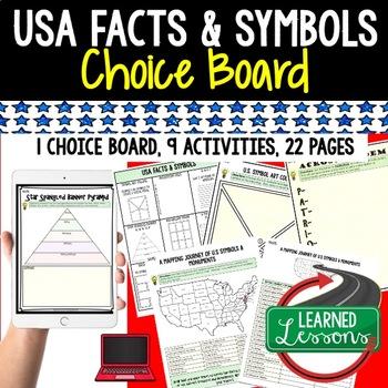 Civics US Facts & Symbols Activities, Choice Board, Print & Digital, Google