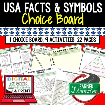 Civics US Facts and Symbols Choice Board and Activities Pa