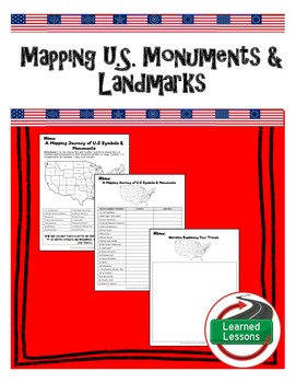 Civics US Facts and Symbols Mapping U.S. Monuments Activity