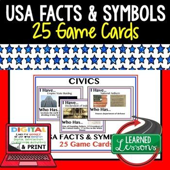 Civics USA Facts and Symbols Game Cards (25 I Have Who Has Cards)
