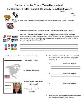 Civics Unit 0 Welcome Questionnaire