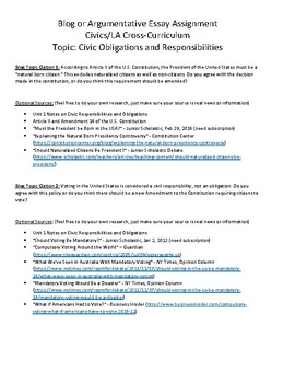 Civics: Unit 1 Blog/Argumentative Essay Topics