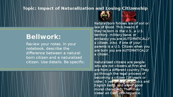 Civics: Unit 1 Day 5 Impact of Naturalization and Losing Citizenship