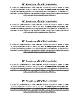 Civics Unit 10 14th Amendment Strip