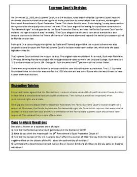 Civics Unit 10 SC Project Case Study: Bush v Gore