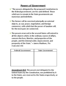 Civics Unit 11 Day 2 Powers of Government Handout