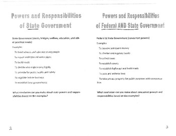 Civics Unit 11 Day 3 Powers of Government Booklet