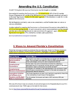 Civics Unit 11 Day 10 Amending Constitutions (US and FL)