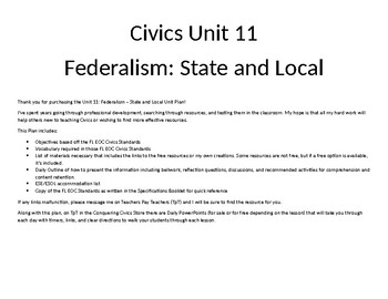 Civics Unit 11 Plan - Federalism: State and Local Governments