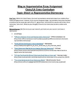 Civics: Unit 2 Blog/Argumentative Essay Topic