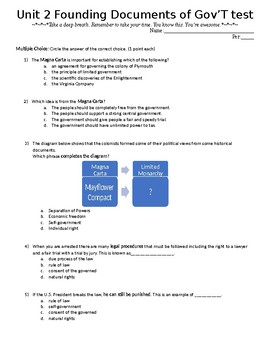 Civics: Unit 2 Founding Documents of American Government Test