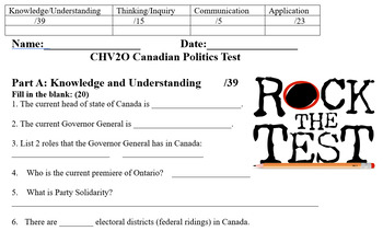 Civics- Unit 2 Review Game and TEST- Canadian Government and Political Process!