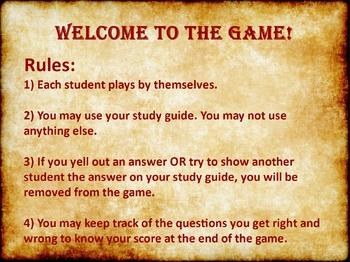 Civics: Unit 2 Test Study Game