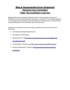 Civics: Unit 4 + 5 Blog/Argumentative Essay Topic