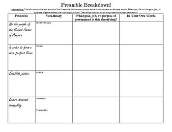 Civics Unit 5 Preamble Breakdown Graphic Organizer